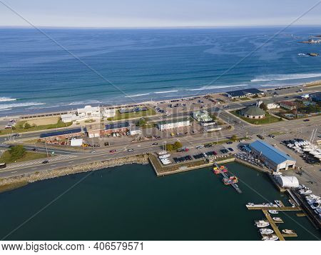 Nantasket Beach Aerial View In Town Of Hull In South Of Boston, Massachusetts Ma, Usa.