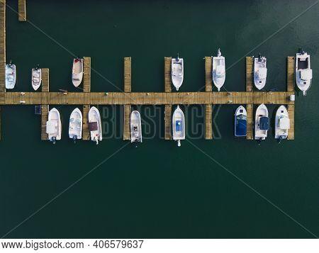 Top View Of Yachts At Nantasket Marina At Nantasket Beach In Town Of Hull, Massachusetts Ma, Usa.
