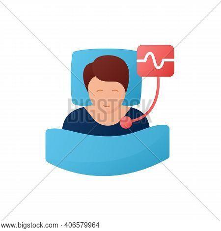 Polysomnography Flat Icon. Sleep Study. Heart, Sleep Examination. Sleep Disorder. Healthy Sleeping C