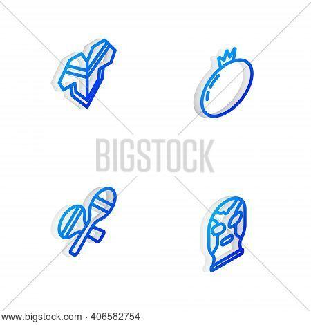 Set Isometric Line Tomato, Poncho, Maracas And Mexican Wrestler Icon. Vector