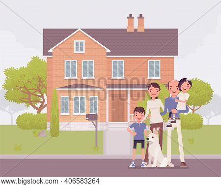Happy Family Standing In Front Of Own House. Homeowners Dream, New Property Building For Parents And