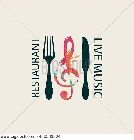 Vector Menu Or Banner In Retro Style For Restaurant With Live Music Decorated With Fork, Knife And A