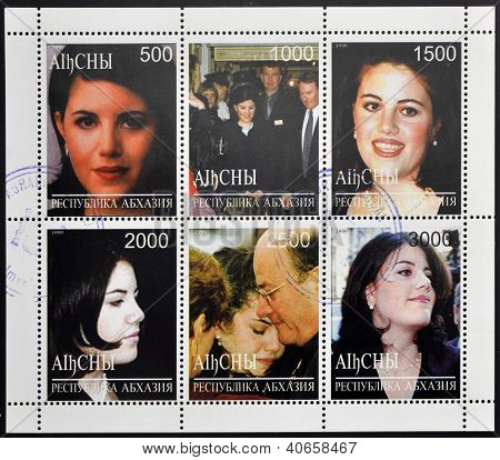 collection stamps printed in Abkhazia (Georgia) shows Monica Samille Lewinsky