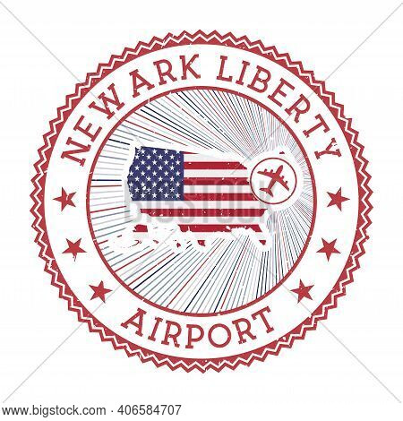 Newark Liberty Airport Stamp. Airport Logo Vector Illustration. Newark Aeroport With Country Flag.