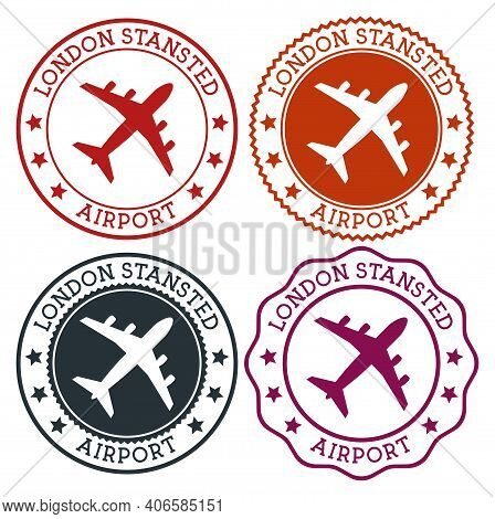 London Stansted Airport. London Airport Logo. Flat Stamps In Material Color Palette. Vector Illustra