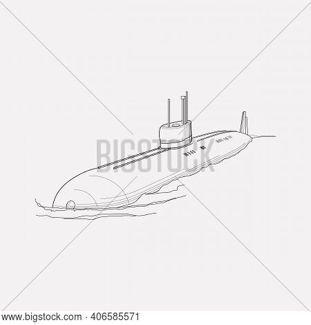 Submarine Icon Line Element. Vector Illustration Of Submarine Icon Line Isolated On Clean Background