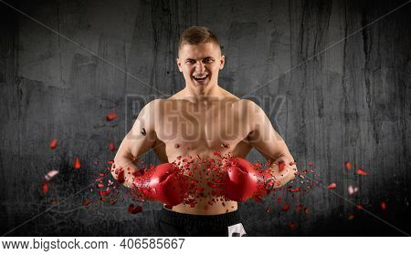 Boxer in red gloves on wall background. Sports banner. Horizontal copy space background