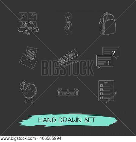 Set Of Learning Icons Line Style Symbols With Pencils, Sports, Admission Letter And Other Icons For