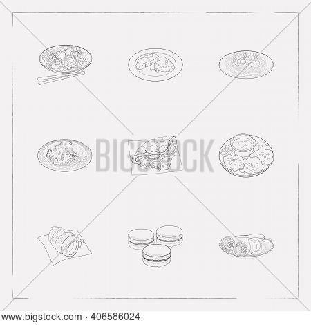 Set Of Culinary Icons Line Style Symbols With Argentina Asado, Moroccan Couscous, Macarons And Other