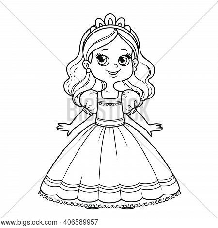 Cute Cartoon Girl Dressed Ball Dress And Tiara Outline For Coloring On A White Background