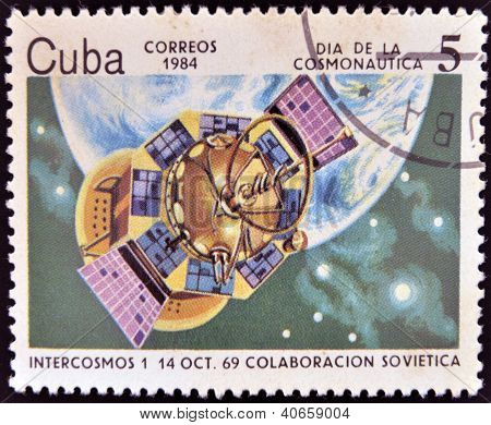 CUBA - CIRCA 1984: A stamp printed in Cuba shows the rocket Intercosmos 1 Soviet cooperation