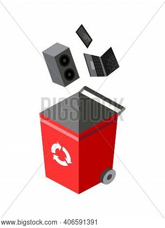 Garbage Can For Sorting. Recycling Elements. Colored Waste Bin With E-waste Trash. Separation Of Was