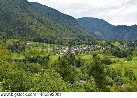 The Summer Landscape Near The Village Of Zatolmin In Tolmin Municipality, Primorska, Slovenia. Part