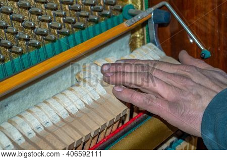 A Crafstman Holding A Hand After Working With Repairs Of The Inside Mechanism Of An Upright Piano. H