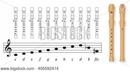 Fingering Chart For Recorder Tuned In C, German Notation, With Black Covered Holes And White Uncover