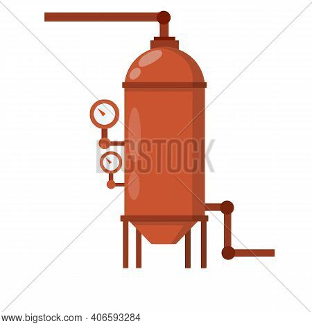 Boiler For Heating Water. Sanitary Engineering. Cartoon Flat Illustration. Element Of House, Bath An