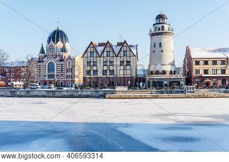 Kaliningrad, Russia, January 17, 2021, The Architecture Of The Fishing Village In Kaliningrad, Fish