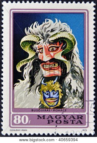 HUNGARY - CIRCA 1973: stamp printed in Hungary shows Busho mask circa 1973