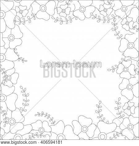 Monochrome Floral Frame Art Design Elements Stock Vector Illustration For Web, For Print