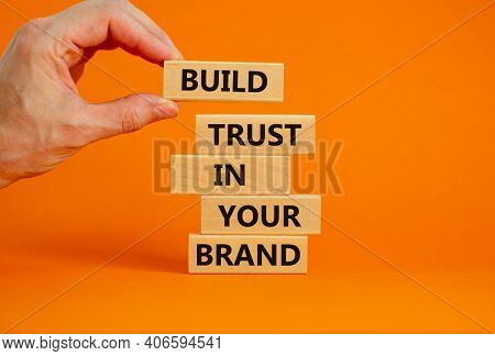 Success Business Process Symbol. Wood Blocks Stacking As Step Stair On Orange Background, Copy Space