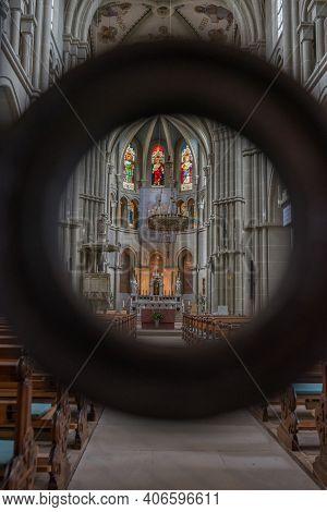 Bern, Switzerland - August 9, 2019 - Interior Of St. Peter And Paul Church In Bern