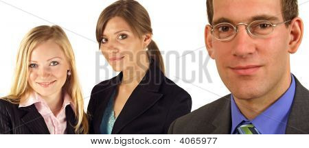 A team of three handsome business people. All isolated on white background. poster