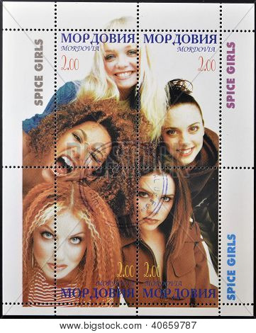 MOLDOVA - CIRCA 2000: A stamp printed in Moldova shows spice girls circa 2000