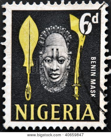 A stamp printed in Nigeria shows benin mask circa 1990
