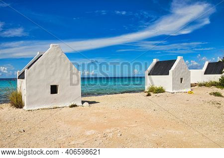 Slave Houses On The Beach In Bonaire In The Caribbean