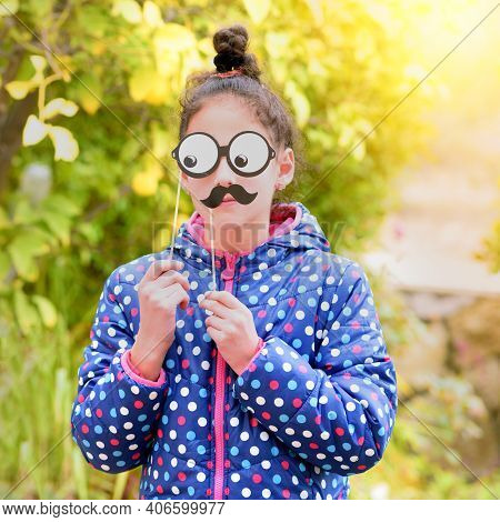 Funny Little Girl With Fake Moustache And Glasses Paper Mask. Kids Birthday, Halloween Father Day, P