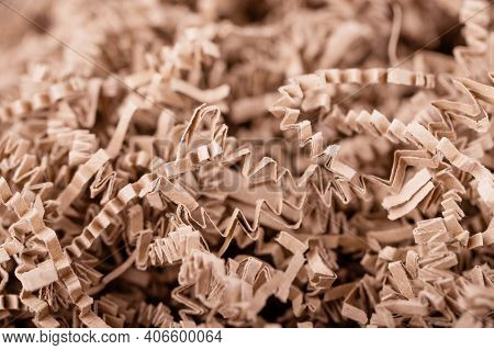Brown Shredded Paper, Strips Of Sliced Corrugated Eco Paper For Packing