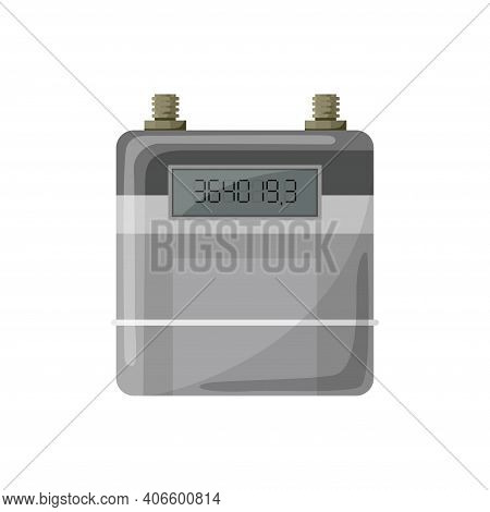 Meter Counter. Gas Power Measurement. Fuel Meter To Record Consumption. Isolated Vector Cartoon Icon