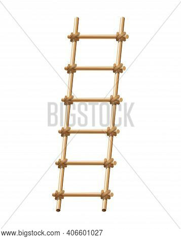 Wooden Ladder Household Tool. Step Ladder For Domestic And Construction Needs. Isolated Vector Illus