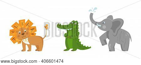 Set 1 Of Cute Animals Collection: Loin, Crocodile, Elephant. African Animals For Kid's Education