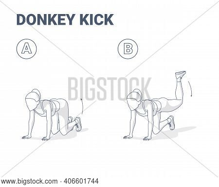 Donkey Kick Female Home Workout Exercise Guide Illustration. Concept Of Young Woman Kick Back And Up