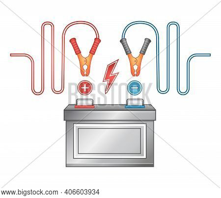 Car Auto Battery Charging Icon. Accumulator Electrical Supply Power. Jumper Cable With Clamps. Using