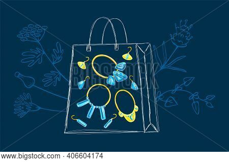 Vector Drawn Illustration With Jewelry Collection, Shop Package, Floral, Botanical Background. Conce