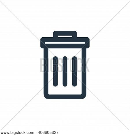 trash bin icon isolated on white background from multimedia collection. trash bin icon thin line out
