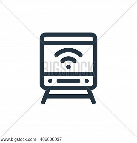 train icon isolated on white background from internet of things collection. train icon thin line out