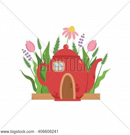 Small House Made From Red Teapot, Fairytale Fantasy House For Gnome, Dwarf Or Elf Vector Illustratio