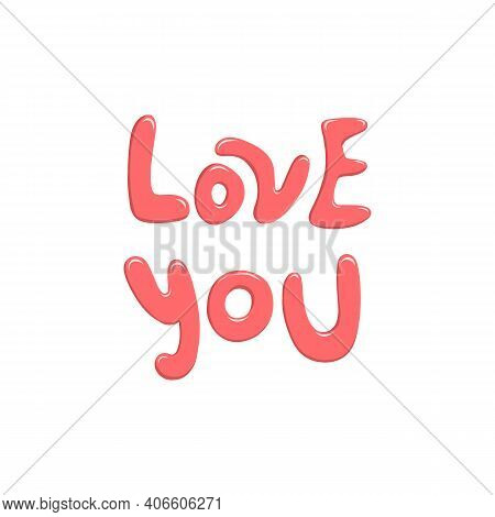 Quote I Love You Mom Fashionable Calligraphy. Excellent Gift Card For Mothers Day. Vector Illustrati