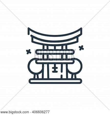 torii gate icon isolated on white background from world monument collection. torii gate icon thin li