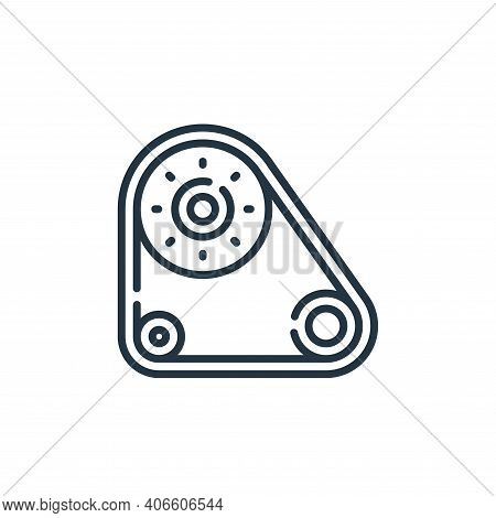 timing belt icon isolated on white background from auto racing collection. timing belt icon thin lin