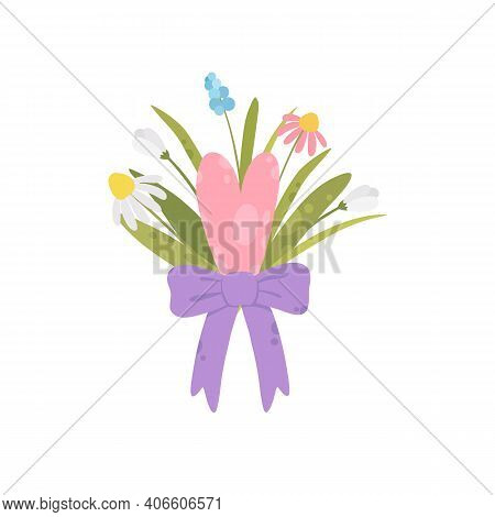 Flower Bouquet. International Womens Day Card. Flat Cartoon Vector Design