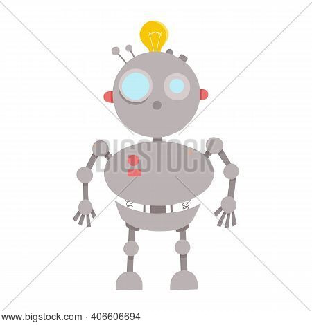 Toy Cute Robot With A Screen In The Chest And A Heart On It. Flat Character Vector Illustration.