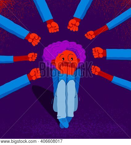 Bullying Vector Concept, Clenched Fists Threats Little Scared Boy Kid Victim, Psychological Abuse, V