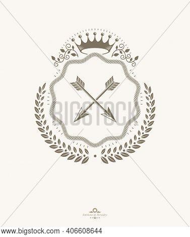 Vintage Emblem, Vector Heraldic Design . Imperial,arms, Blazon