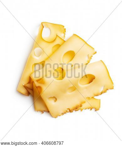 Sliced smoked hard cheese isolated on white background.