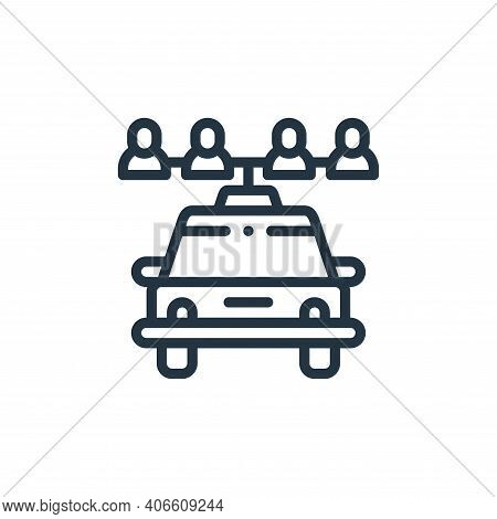 sharing icon isolated on white background from taxi service collection. sharing icon thin line outli