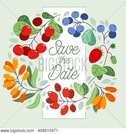 Greeting Card With Ripe Wild Berries And Fresh Green Leaves Wreath Vector Flat Drawing, Floral Desig